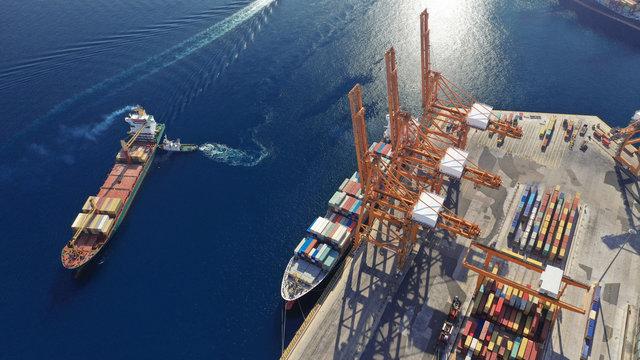 Aerial photo of industrial cargo container terminal in Perama and Drapetsona commercial port near Piraeus, Attica, Greece