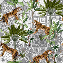 Seamless pattern with tigers and tropical trees. Vector.