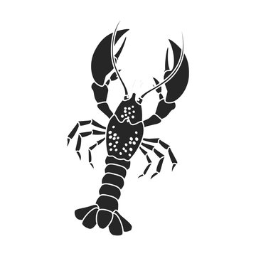 Lobster vector icon.Black,simple vector icon isolated on white background lobster.