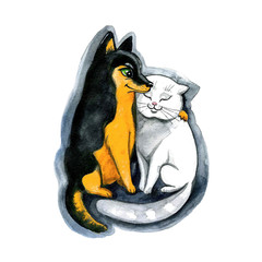 Cute watercolor cat and dog on the white background. Happy Valentines day!