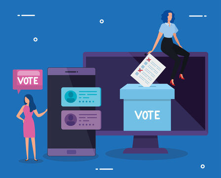 business women with computer and smartphone for vote online vector illustration design