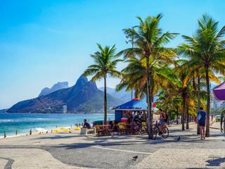 Fototapete - Ipanema beach and Arpoador beach with  in Rio de Janeiro, Brazil. Ipanema beach is the most famous beach of Rio de Janeiro, Brazil. Cityscape of Rio de Janeiro.