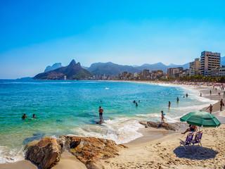 Fotobehang - Ipanema beach and Arpoador beach with  in Rio de Janeiro, Brazil. Ipanema beach is the most famous beach of Rio de Janeiro, Brazil. Cityscape of Rio de Janeiro.