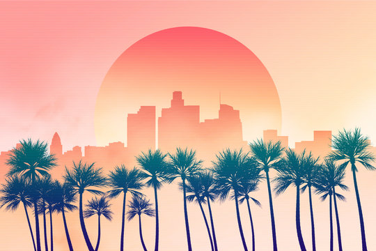Los Angeles city downtown skyline illustration at dusk or down with sun in the background and palm trees in the foreground. Yellow, orange and pink scenery 2D illustration. California, USA.