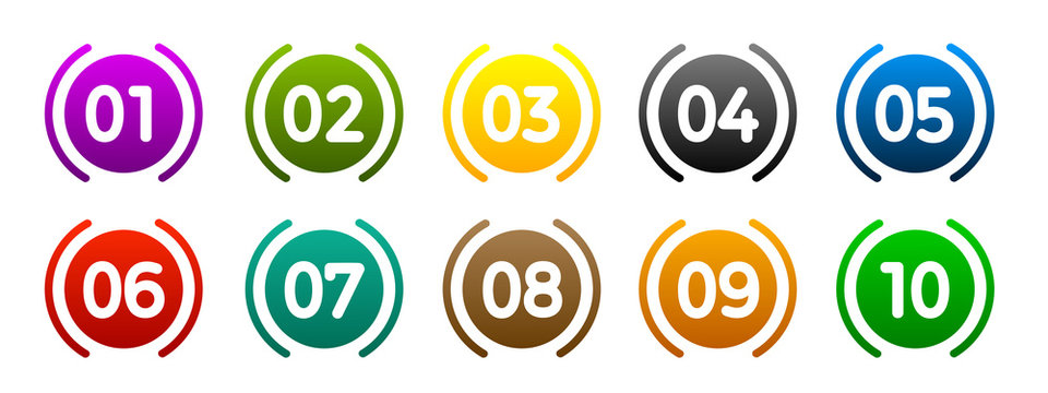 Modern colorful numbers button set multicolored – vector