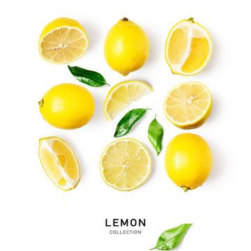 Lemon citrus fruits composition and creative pattern