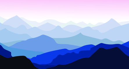 Tuinposter Purper Panorama vector illustration of mountain ridges