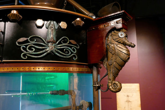Steampunk seahorse on fantasy submarine