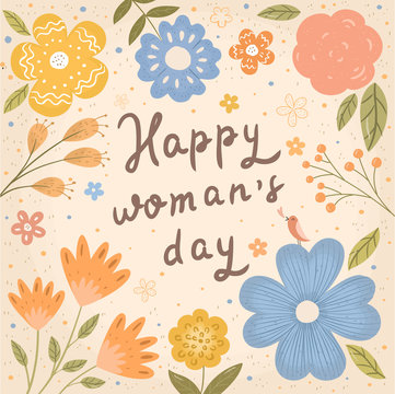 Happy Women's Day March 8! Cute spring vector illustration of flowers, floral pattern, plants and leaves. Picture frame for card, background or poster.