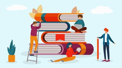 Readers around books stack vector illustration. Group of small people woman man stand, climb, sit on giant books pile. Reading, learning, teaching, education in library, school, college, university.