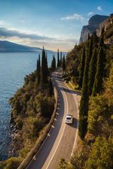 drive in fiat 500 the western Gardesana road on Lake Garda