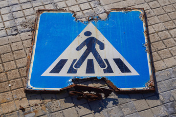road sign damaged by rust and neglect Wall mural