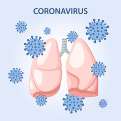 Human lungs are attacked by MERS-Cov (middle East respiratory syndrome coronavirus), 2019-nCoV. Concept design. Vector illustration in flat style isolated over blue background.
