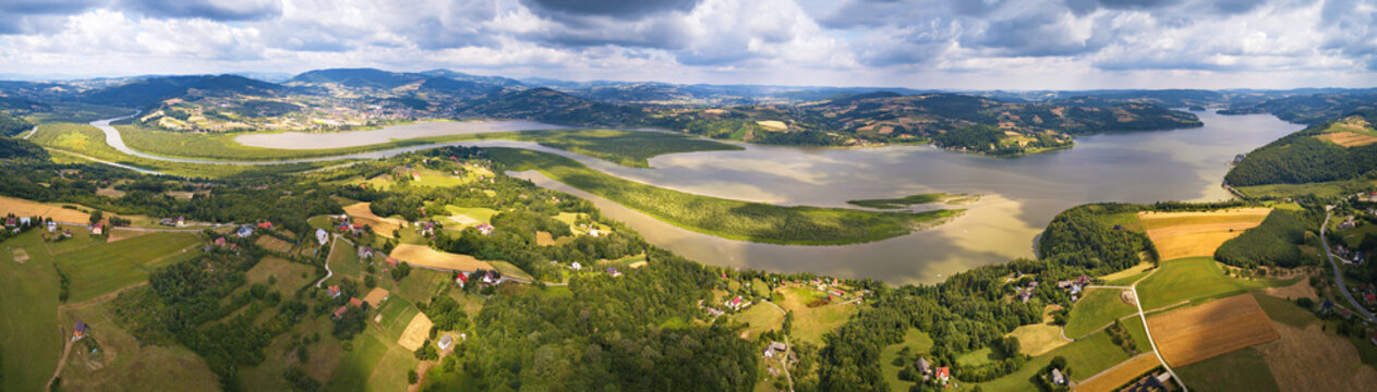 Panorama View of Lake, reservoir on Dunajec river and Beskids hills
