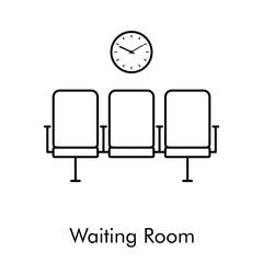 Icono lineal sala de espera en color negro
