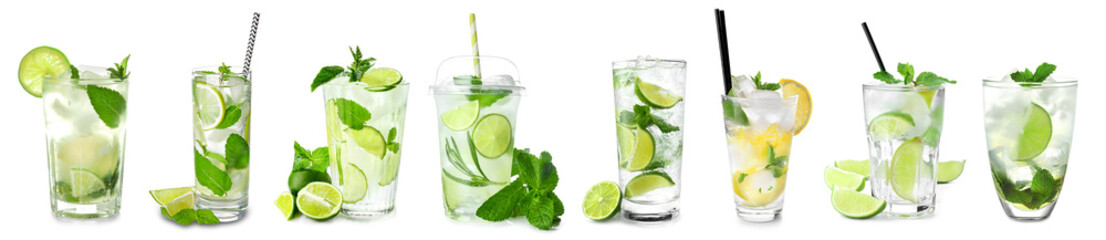 Glass of fresh mojito on white background Wall mural