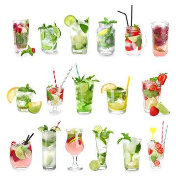 Set of fresh mojito cocktails on white background
