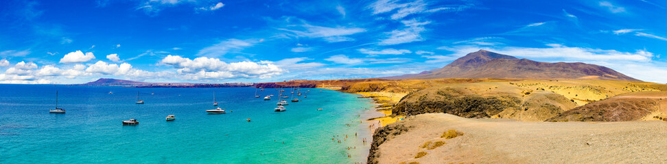 Poster Canarische Eilanden Spanish beaches and coastline.Spanish View scenic landscape in Papagayo, Playa Blanca Lanzarote ,Tropical Volcanic Canary Islands Spain