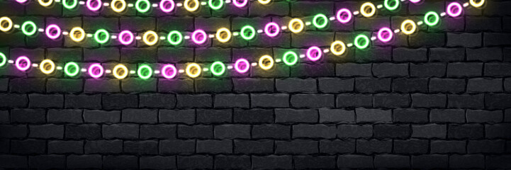 Vector realistic isolated neon sign of Mardi Gras flyer logo for template decoration and covering on the wall background.