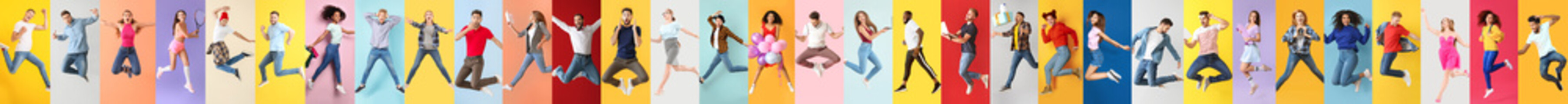Collage of photos with different jumping people