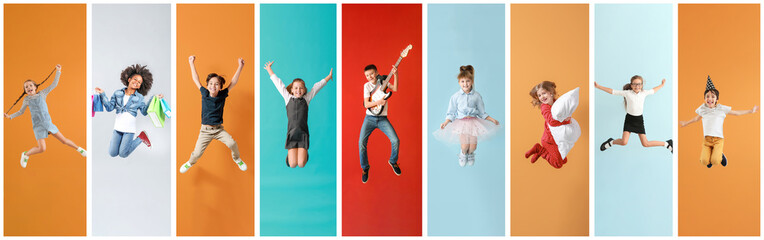 Collage of photos with different jumping children