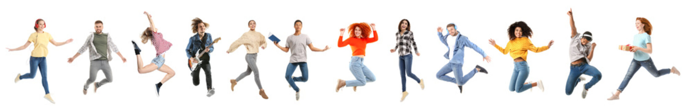 Set of different jumping people on white background