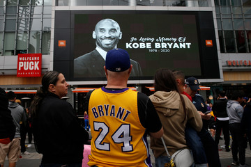 Image of former Los Angeles Lakers basketball star Kobe Bryant is seen outside the Staples Center in Los Angeles, California, U.S. January 26, 2020.