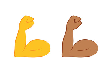 Flexed bicep color icon. Strong emoji. Muscle. Bodybuilding, workout. Man's arm, forearm. Isolated vector illustration.