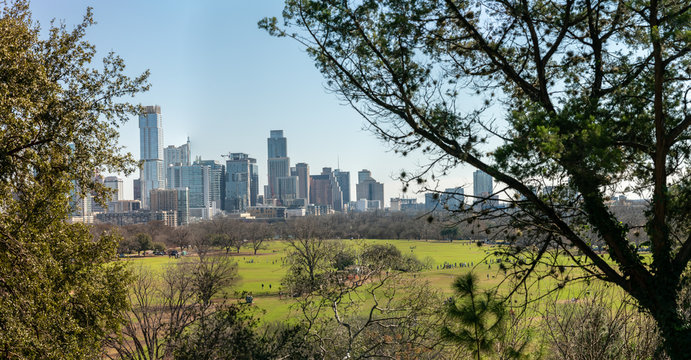 Panoramic View of The Austin Skyline With Zilker Park in the Foreground