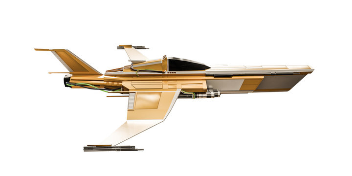 spaceship fighter isolated on white