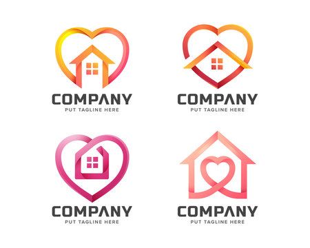 work from home heart love logo collection for company