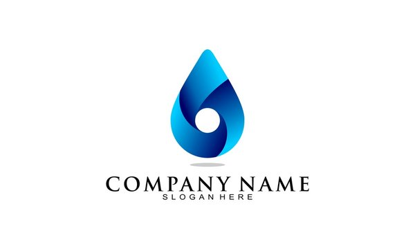 Water drop 3D simple illustration vector logo