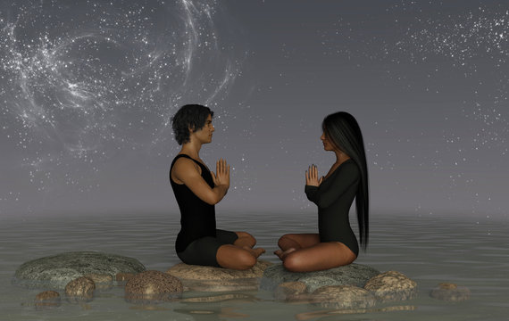 A couple practicing yoga on rocks in water