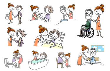 People set: nursing, senior, helper