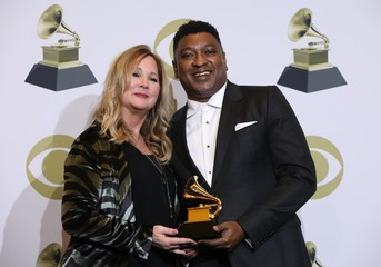 """62nd Grammy Awards – Photo Room – Los Angeles, California, U.S., January 26, 2020 - Erinn Williams and Steve Pamon pose backstage wth the Best Music Film for """"Beyonce\"""