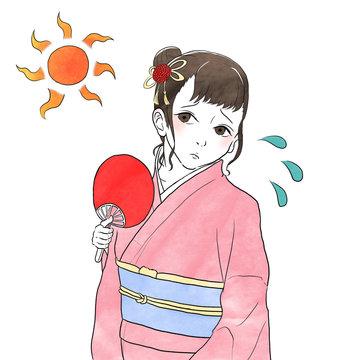 汗をかく着物女性