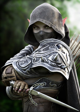 Portrait of a powerful armored,silent, dark elf assassin archer masked and cloaked in secrecy and equipped with a dagger. Fantasy 3d rendering