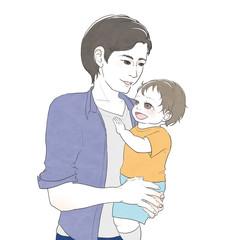 幼児を抱っこする男性