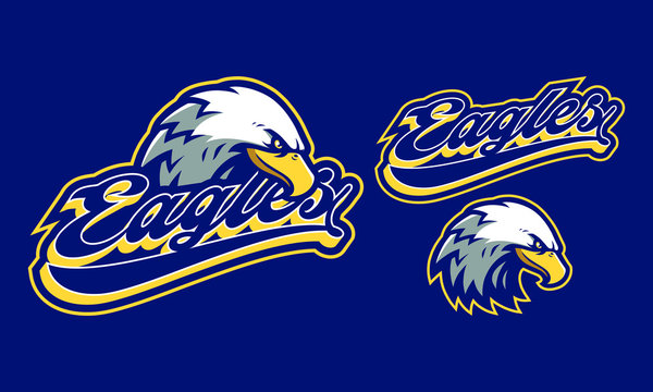 Eagles mascot logo design or sport / e-sport logo isolated on navy blue background