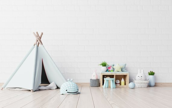 Children's playroom with tent and table sitting,doll.