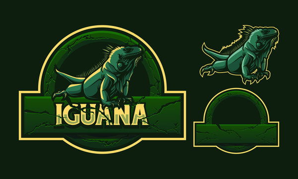 Iguana mascot logo design with stone crack frame isolated on dark green background