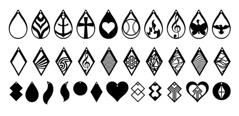 earring vector set collection graphic clipart design