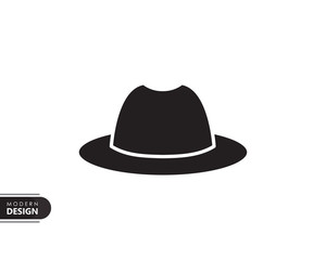fashion hat black solid icon with modern design, isolated on white background. flat style for graphic design template. suitable for logo, web, UI, mobile app. vector illustration