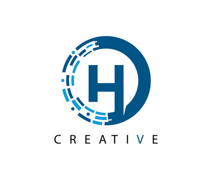 Circle H Letter Digital Network , Technology and digital abstract line H network circuit vector logo.