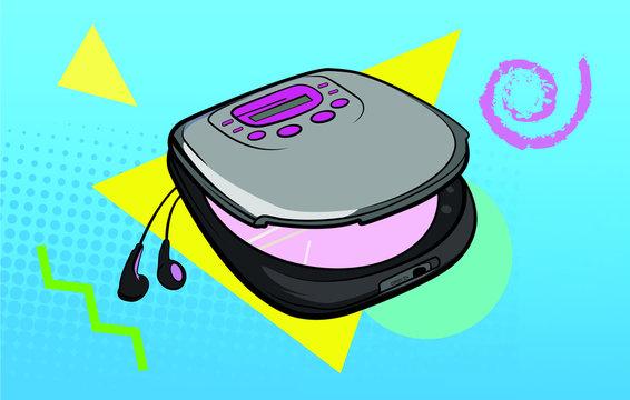 CD Player Retro Vector Illustration