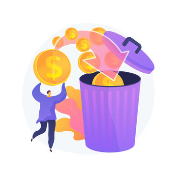 Man overspending, throwing coins in dustbin. Money waste, unprofitable investment, bad finances management. Financial bankruptcy, guy losing savings. Vector isolated concept metaphor illustration