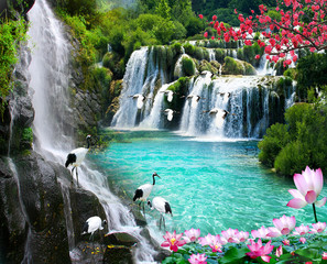 Foto op Textielframe Watervallen wallpaper 3D natural waterfall view2