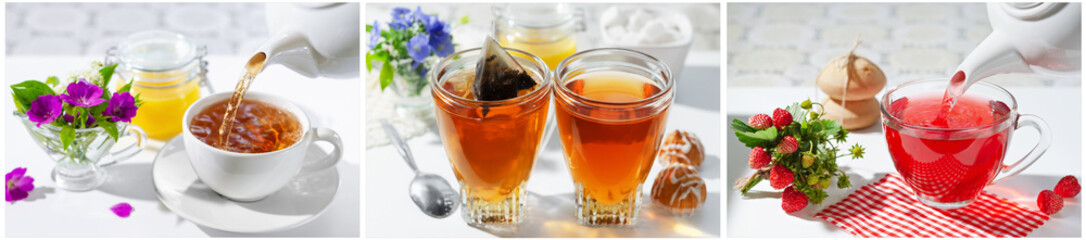 Foto op Aluminium Thee A Cup of hot tea with berries and honey . The process of brewing and pouring tea.