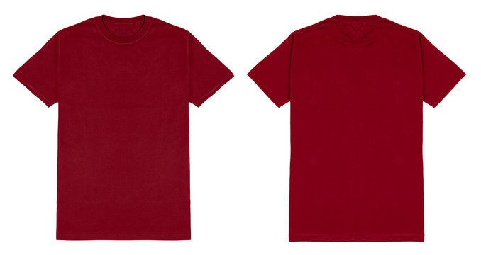 Red maroon t shirt front and back view, isolated on white background. Ready for your mock up design template.