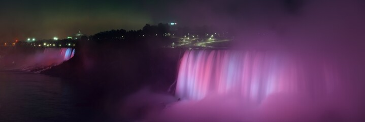 Printed kitchen splashbacks Eggplant Niagara Falls panorama at night